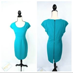 Andrew Marc Petal Sleeve Fitted Sheath Dress